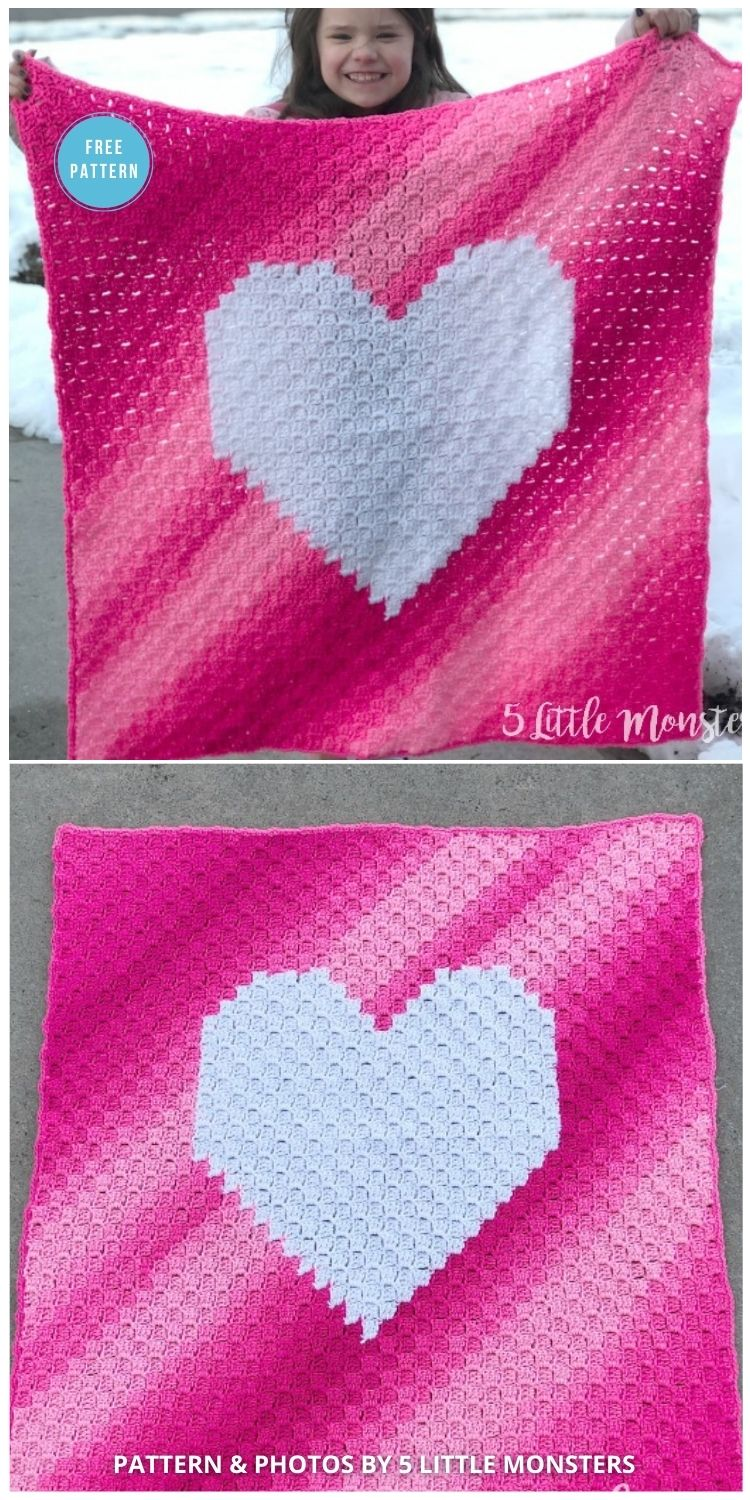 Ombre Heart Corner to Corner Blanket - 8 Free C2C Heart Blankets Free Crochet Patterns