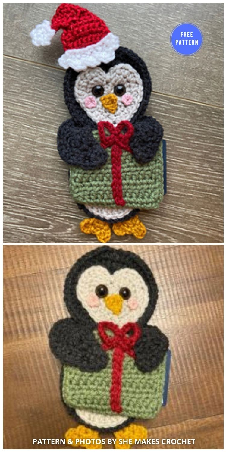 Penguin Gift Card Pouch - 12 Free Crochet Penguin Home Decor Ideas