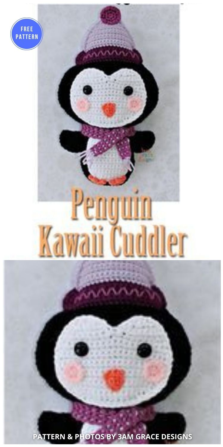 Penguin Kawaii Cuddler - 12 Free Crochet Penguin Home Decor Ideas