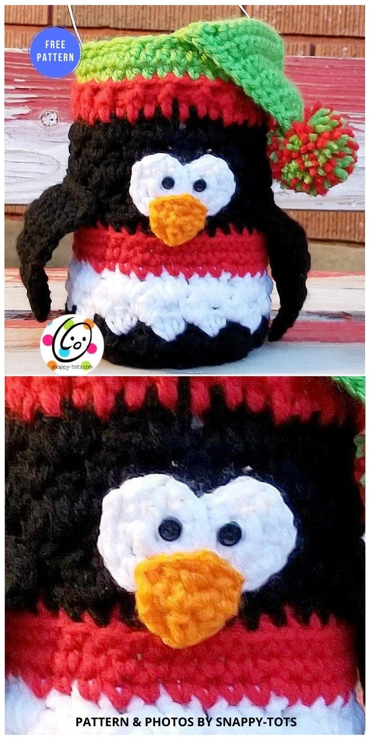 Penguin Luminary - 12 Free Crochet Penguin Home Decor Ideas