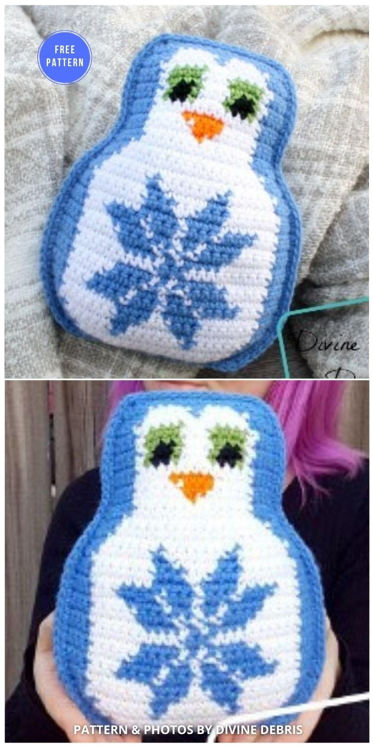 Penguin Pal – the Snowflake Penguin - 12 Free Crochet Penguin Home Decor Ideas