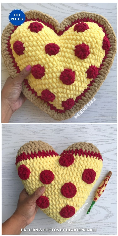 Pizza Heart Pillow Mod - 12 Free Crochet Patterns Heart Pillows & Cushions - INDIVIDUAL