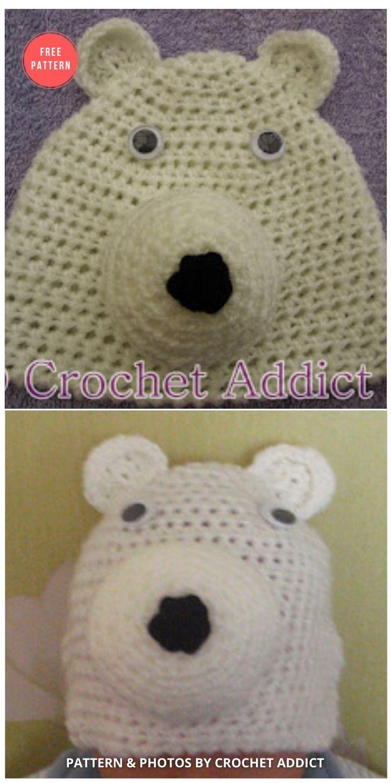 Polar Bear Beanie Hat Newborn - 7 Free Polar Bear Hats For Babies Crochet Patterns