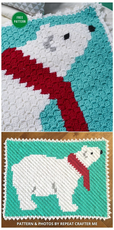 Polar Bear C2C Crochet Blanket - 7 Free Crochet Polar Bear Blanket Patterns