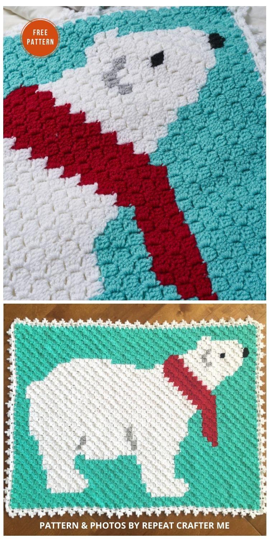 Polar Bear C2C Crochet Blanket - 9 Free C2C Crochet Christmas Blankets & Afghans