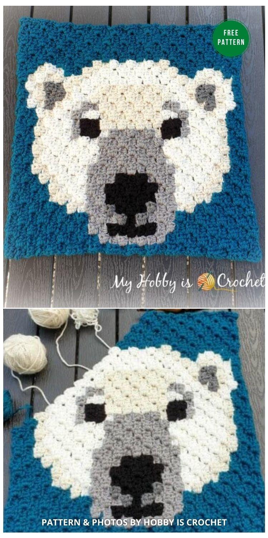 Polar Bear C2C Square - 7 Free Crochet Polar Bear Blanket Patterns