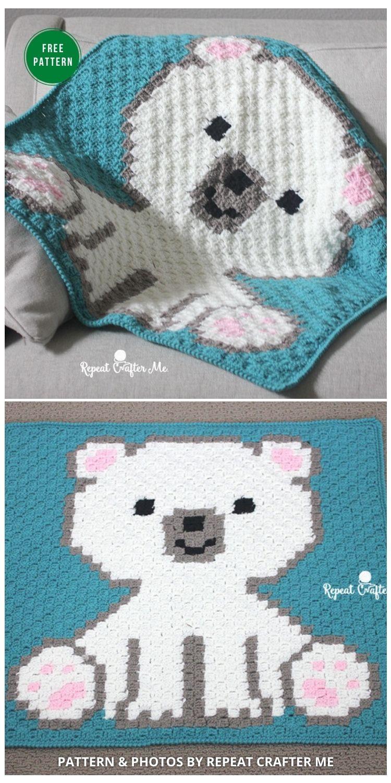 Polar Bear Cub Crochet C2C Blanket - 7 Free Crochet Polar Bear Blanket Patterns
