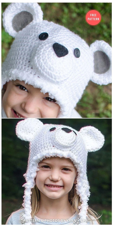 Polar Bear Hat - 7 Free Polar Bear Hats For Babies Crochet Patterns