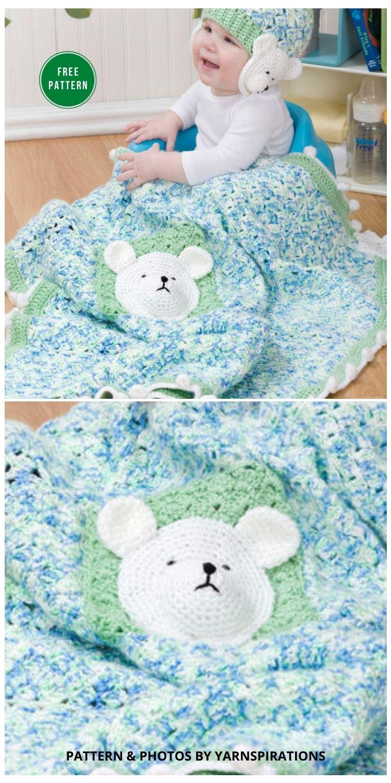 Red Heart Polar Bear Blanket And Hat - 7 Free Crochet Polar Bear Blanket Patterns