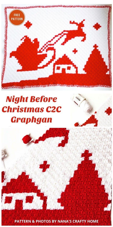 Santa Reindeer C2C Graphgan Night Before Christmas - 9 Free C2C Crochet Christmas Blankets & Afghans