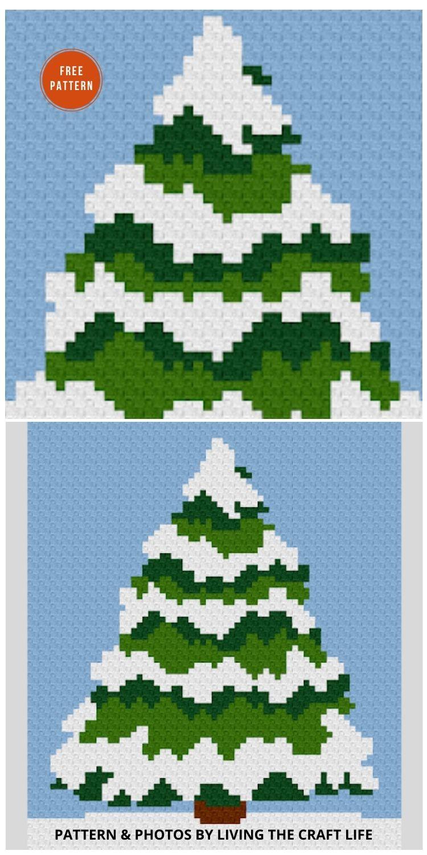 Snowy Tree C2C Blanket - 9 Free C2C Crochet Christmas Blankets & Afghans