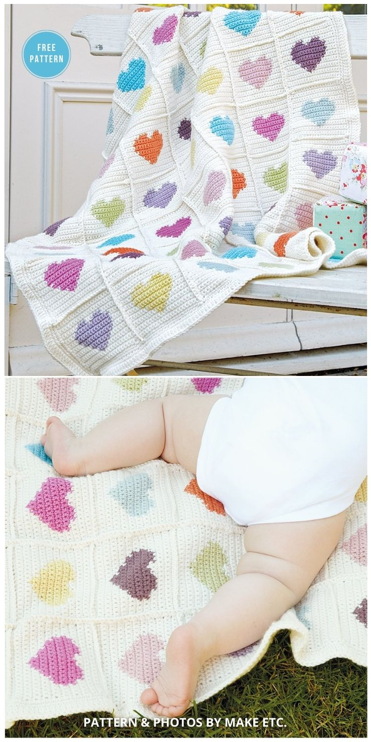 Sweetheart Crocheted Baby Blanket - 8 Free C2C Heart Blankets Free Crochet Patterns