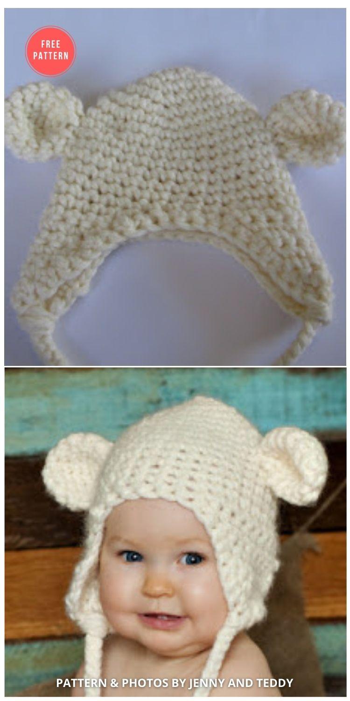 Teddy Bear Hat Free Crochet Pattern - 7 Free Polar Bear Hats For Babies Crochet Patterns