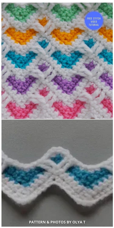 The Heart Zig Zag Stitch Free crochet pattern & Video Tutorial - 9 Beautiful Heart Crochet Stitches Free Tutorials