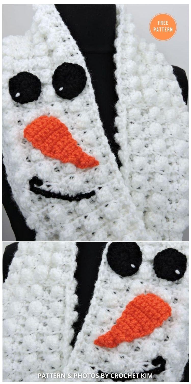 Winter Snowman Puffs Infinity Scarf in Lion Brand Yarn - 8 Free Patterns For Snowman Hats, Mitten & Scarves