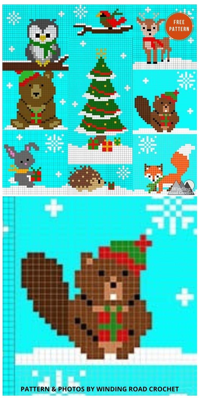Woodland Winter Wonderland Optional Banners - 9 Free C2C Crochet Christmas Blankets & Afghans -INDIVIDUAL