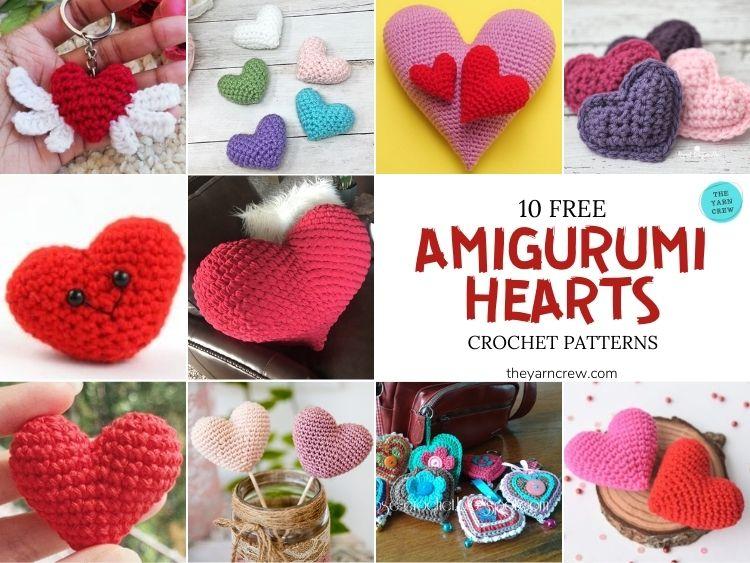 10 Free Amigurumi Hearts Crochet Patterns - FB POSTER