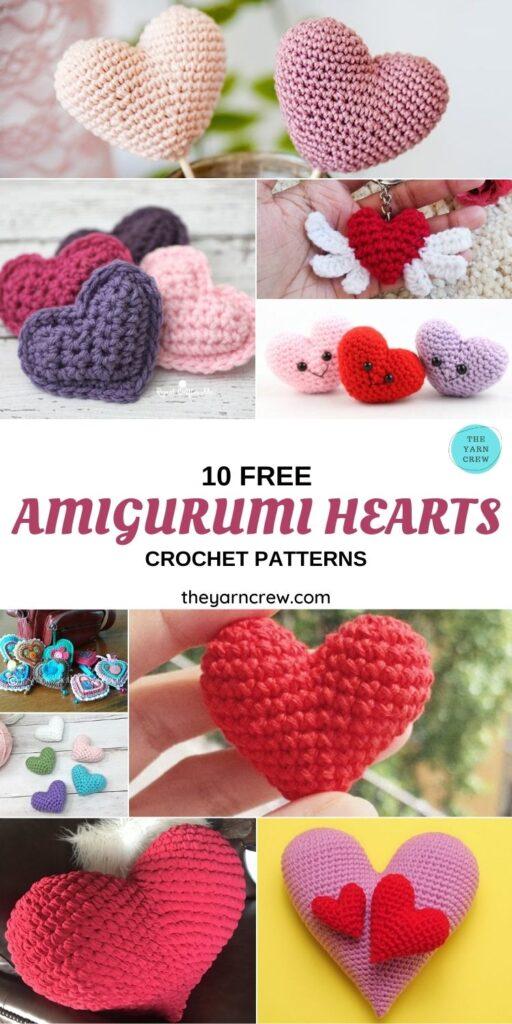10 Free Amigurumi Hearts Crochet Patterns - PIN1