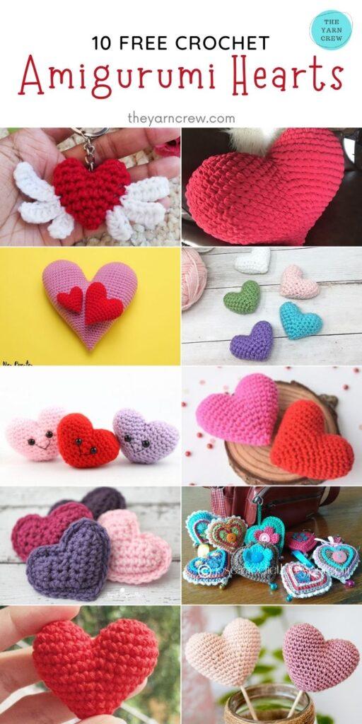 10 Free Crochet Amigurumi Hearts - PIN2