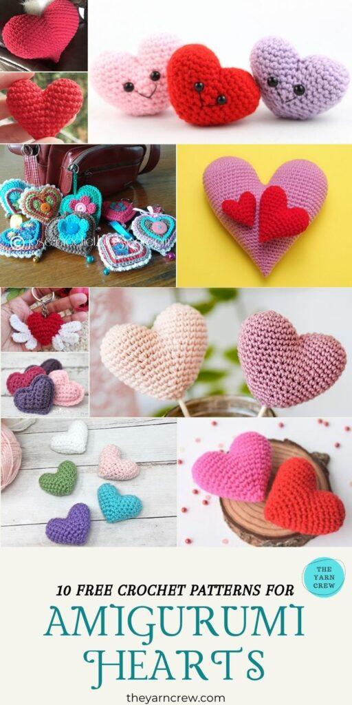 10 Free Crochet Patterns For Amigurumi Hearts - PIN3