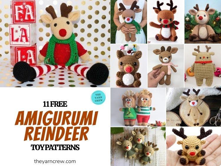 11 Free Amigurumi Reindeer Toy Patterns - FB POSTER