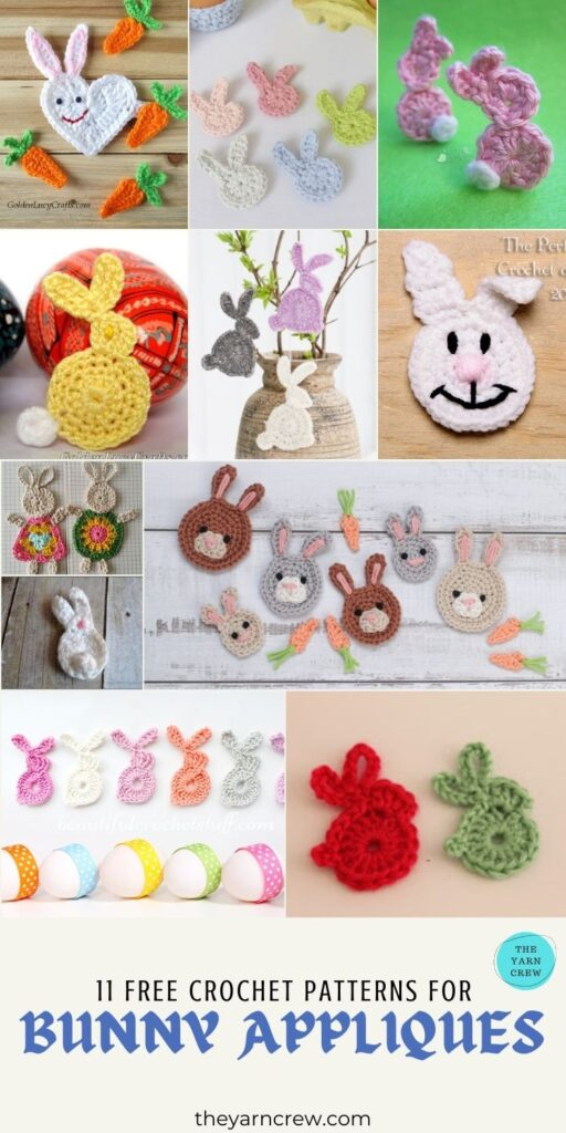 11 Free Crochet Patterns For Bunny Appliques - PIN3