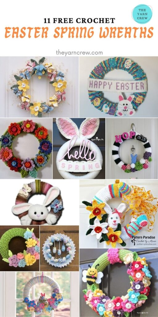 11 Free Crochet Easter Spring Wreaths - PIN2