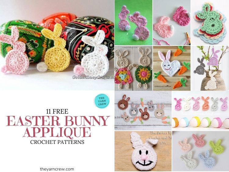 11 Free Easter Bunny Appliques Crochet Patterns - FB POSTER