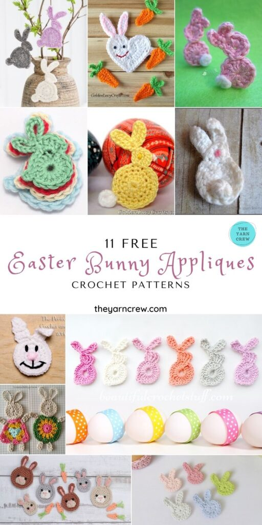 11 Free Easter Bunny Appliques Crochet Patterns - PIN1