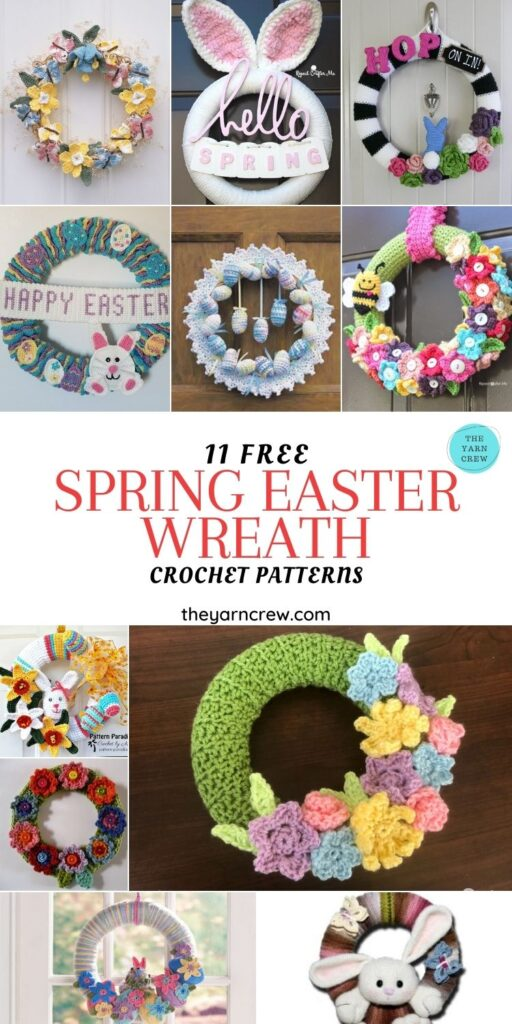 11 Free Spring Easter Wreaths Crochet Patterns - PIN1