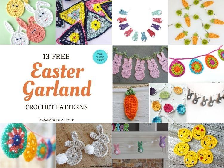 13 Free Easter Garland Crochet Patterns - FB POSTER