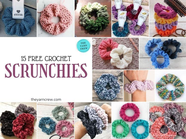 15 Free Crochet Scrunchies - FB POSTER