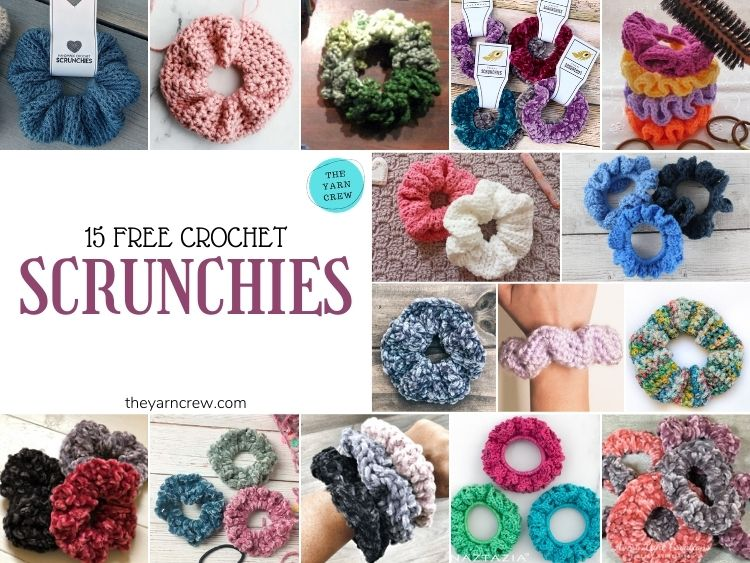 15 Free Crochet Scrunchies - FB POSTER