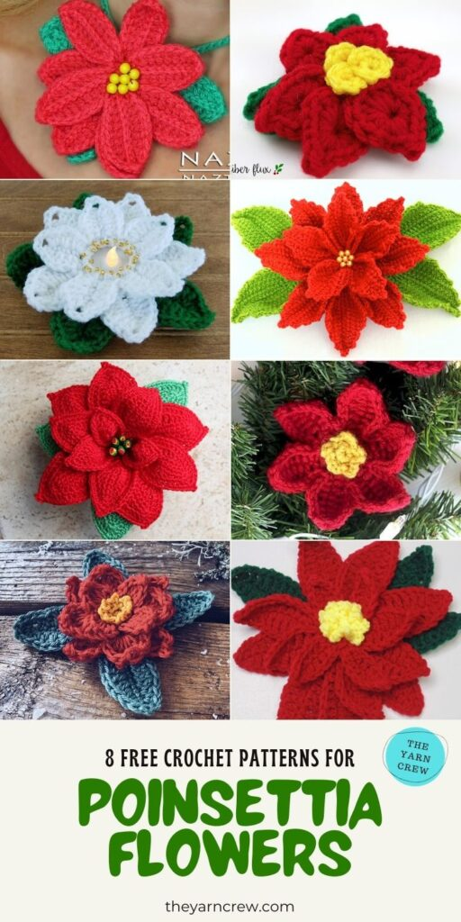 8 Free Crochet Patterns For Poinsettia Flowers - PIN3