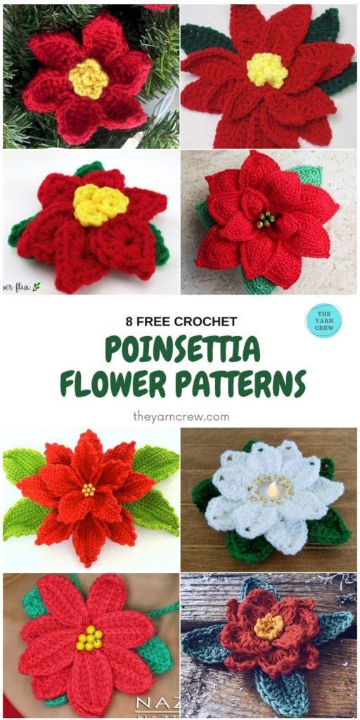 8 Free Crochet Poinsettia Flower Patterns - PIN1