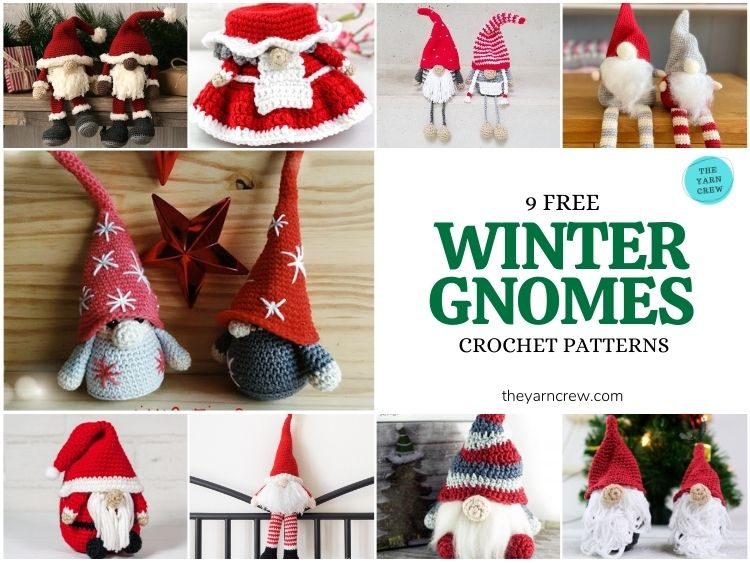 9 Free Winter Gnomes Crochet Patterns - FB POSTER
