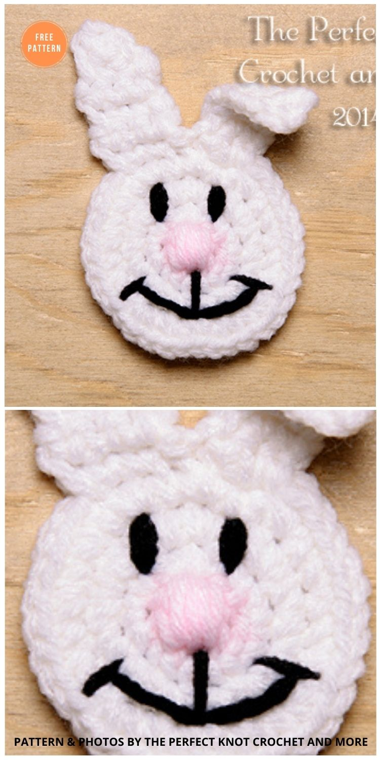 Bunny Head Applique from - 11 Free Easter Bunny Appliques Crochet Patterns