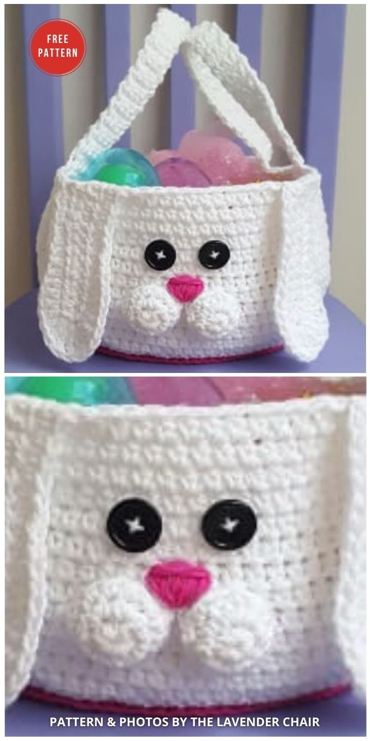 Chubby Bunny Easter Basket Crochet Pattern - 10 Free Patterns For Cute Easter Baskets