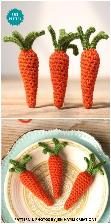 Cottage Garden Crochet Carrots - 10 Free Amigurumi Carrot Crochet Patterns