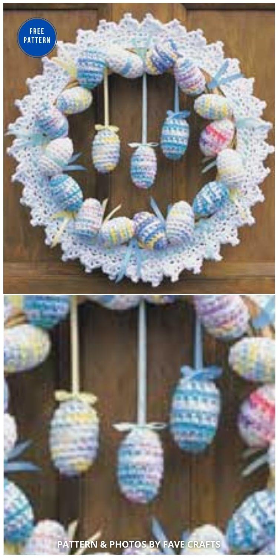 Crochet Easter Eggs Wreath - 11 Free Spring Easter Wreaths Crochet Patterns