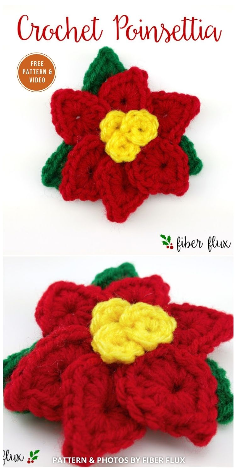 8 Free Crochet Poinsettia Flower Patterns The Yarn Crew
