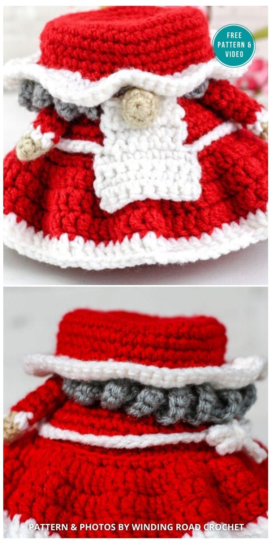 Crochet Mrs. Claus Gnome Free Pattern - 9 Free Winter Gnomes Crochet Patterns