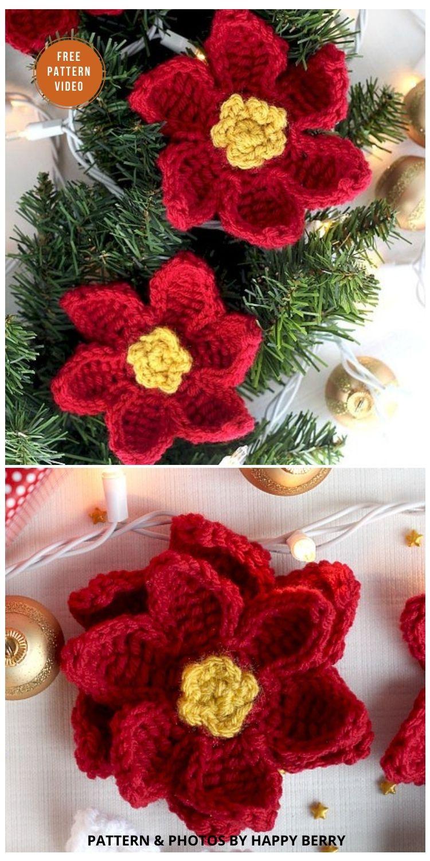 Crochet Poinsettia Flower - 8 Free Crochet Poinsettia Flower Patterns