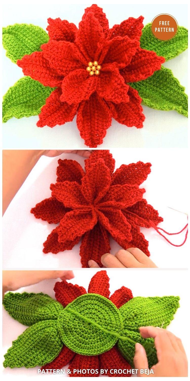 Crochet Poinsettia Flower To Make For Decor - 8 Free Crochet Poinsettia Flower Patterns
