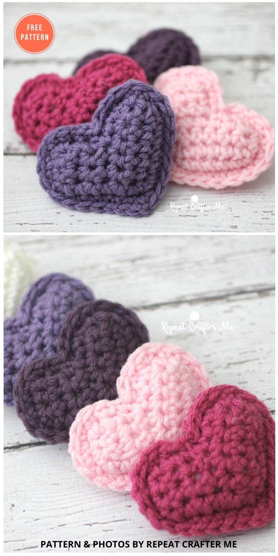 Crochet Puffy Hearts - 10 Free Amigurumi Hearts Crochet Patterns