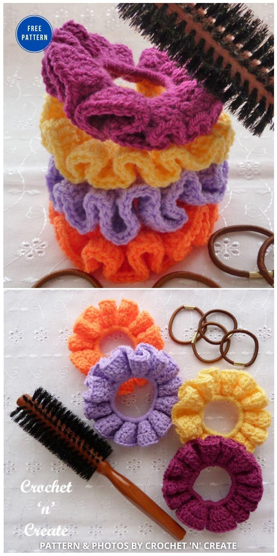 Crochet Ruffled Scrunchie Pattern - 15 Free Crochet Scrunchies