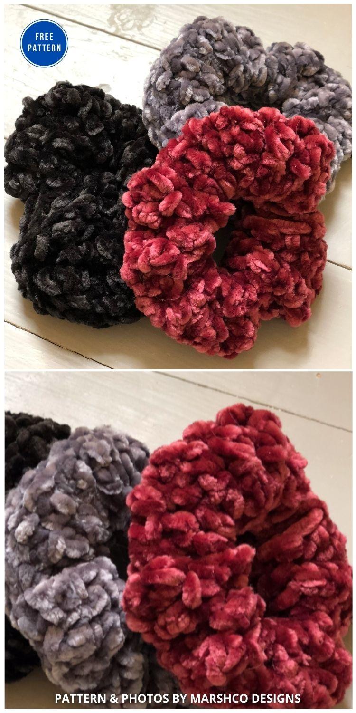 Crochet Scrunchie Free Pattern - 15 Free Crochet Scrunchies