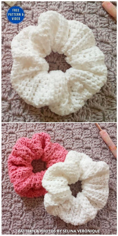 Crochet Simple Feminine Scrunchie - 15 Free Crochet Scrunchies