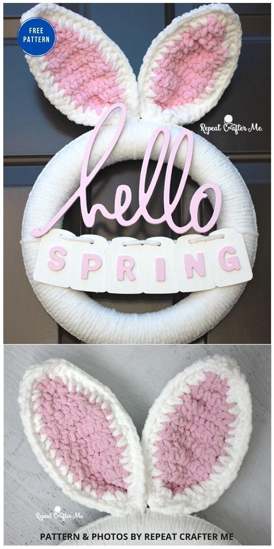 Crochet Spring Bunny Wreath - 11 Free Spring Easter Wreaths Crochet Patterns