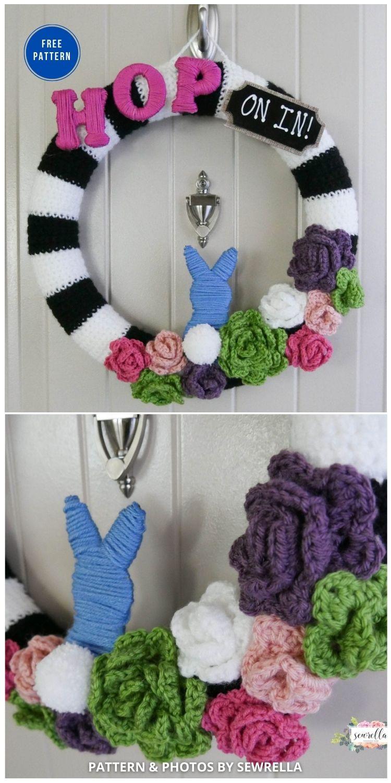 Crochet Succulent & Rose Bunny Wreath - 11 Free Spring Easter Wreaths Crochet Patterns